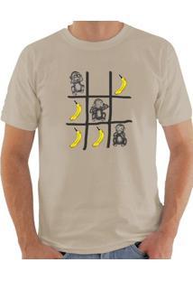 Camiseta Milá Jogo Da Velha Casual - Masculino-Bege