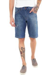 Bermuda Jeans Hd Reta Desgastes Azul