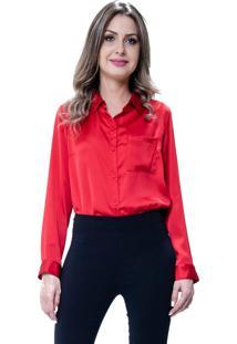 Camisa 101 Resort Wear Social Lisa Cetim Vermelho