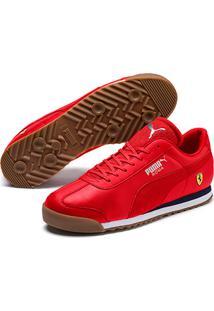 Tênis Couro Puma Ferrari Roma Masculino - Masculino-Vermelho