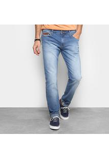 Calça Jeans Slim John Estonada Masculina - Masculino-Azul Claro