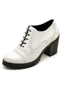 Bota Ankle Boot Feminina Cano Curto Tratorada Oxford Q&A Calçados Branco