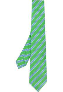 Kiton Gravata Com Listras Diagonais - Verde
