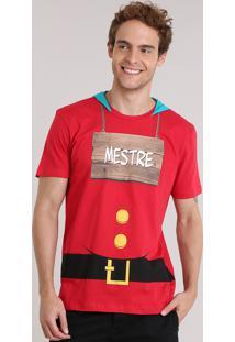 """Camiseta Masculina Carnaval 7 Anões """"Mestre"""" Com Capuz Vermelha"""