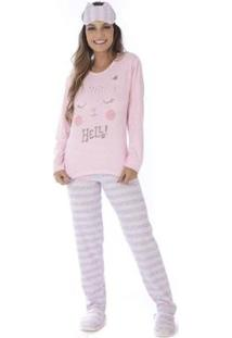 Conjunto Pijama Victory Inverno Listrado Feminino - Feminino-Rosa