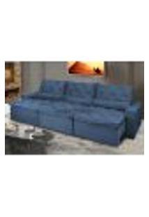 Sofá Lisboa 3,82M Retrátil, Reclinável Com Molas No Assento E Almofadas Lombar Tecido Suede Azul