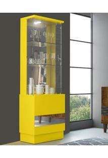Cristaleira New Vina 100% Mdf 11757 Amarelo Laca - Dj Móveis