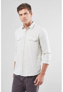 Camisa Regular Reserva Dupla Gaze Masculina - Masculino-Off White