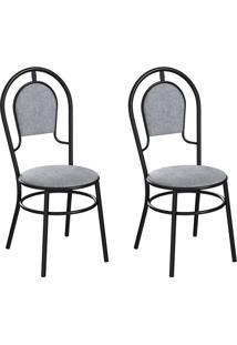 Conjunto Com 2 Cadeiras Hobart Cinza E Preto