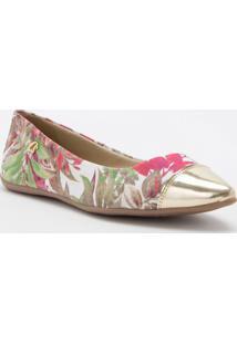 Sapatilha Floral Com Recorte- Rosa & Douradacarmen Steffens