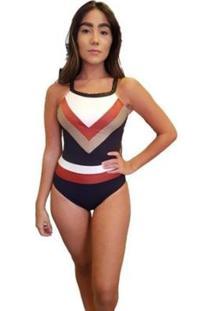 Body Recorte Tricolor - Feminino-Preto