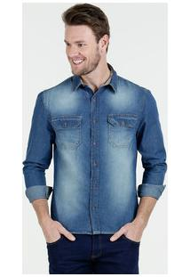 Camisa Masculina Jeans Manga Longa Marisa