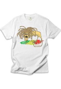 Camiseta Geek Cool Tees Comics Fernando Gonsales Leao Jamaica Bob Marley Masculina - Masculino-Branco