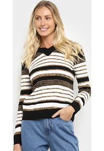 Suéter Tricô Fast Glam Básico Listrado Feminino - Feminino-Preto+Dourado
