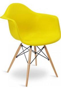 Cadeira Com Braços E Pés Em Madeira Flórida Siena Móveis Amarelo