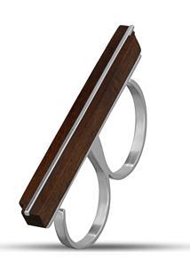 Anel Duplo Wooden Design Traço Em Prata 925 - Madeira E Prata