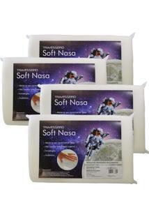 Kit Com 4 Peças Travesseiro Viscoelástico Soft Nasa