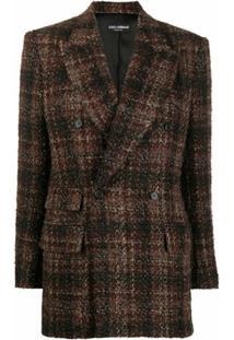Dolce & Gabbana Blazer Xadrez Com Abotoamento Duplo - Marrom