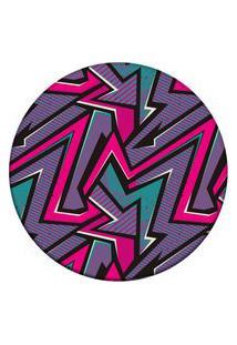 Tapete Love Decor Redondo Wevans Geométrico Color Roxo 84Cm