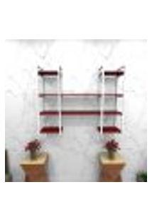 Estante Estilo Industrial Sala Aço Cor Branco 120X30X98Cm Cxlxa Cor Mdf Vermelho Modelo Ind50Vrsl