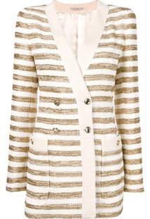 Alessandra Rich Blazer Listrado Com Abotoamento Duplo - Dourado