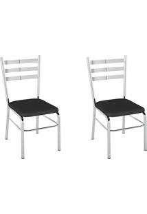 Kit 2 Cadeiras Pc09 Assento Preto - Pozza