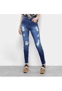 1dfec6390 ... Calça Jeans Skinny Coca-Cola Super High Destroyed Feminina - Feminino- Jeans