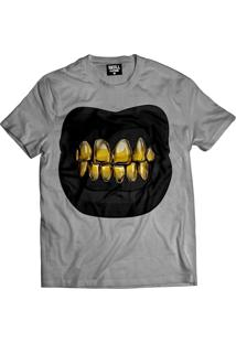 Camiseta Manga Curta Skull Clothing Dente Dourado Cinza