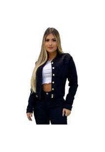 Jaqueta Jeans Feminina Preta Preto