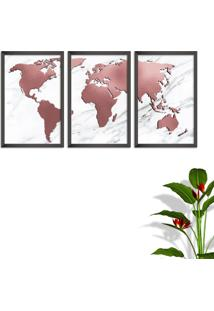 Quadro 60X120Cm Mapa Mundi Rose Moldura Sem Vidro Fundo Branco Altas Países Decorativo Interiores - Oppen House