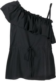 Redvalentino Blusa Assimétrica Com Babados - Preto