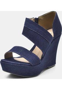 Sandália Anabela Salto Alto Em Tecido Jeans - Kanui