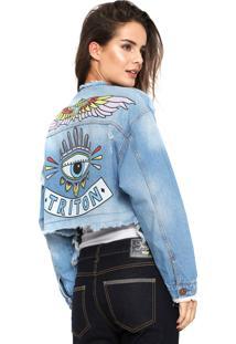 Jaqueta Jeans Triton Estampada Azul