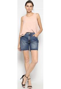 Bermuda Jeans Com Termocolantes- Azulenna