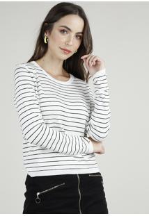 Suéter Feminino Básico Em Tricô Listrado Decote Redondo Branco