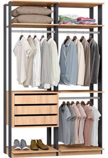 Closet Modulado 3 Gavetas E 3 Cabideiros Clothes 9013 – Be Mobiliário - Carvalho Mel / Espresso