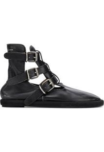 Mm6 Maison Margiela Ankle Boot Com Fivela - Preto