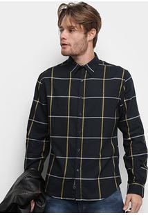 Camisa Xadrez Manga Longa Ellus Web Mool Touch Check 50 Masculina - Masculino-Preto