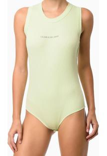 Body Ckj Sm De Rib Calvin Klein Jeans - Verde Claro - P