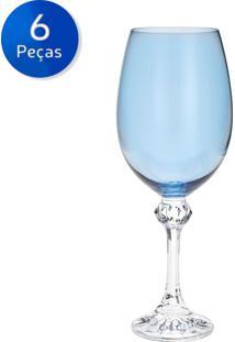 Jogo De Taças Para Vinho 6 Peças 450 Ml Elisa - Bohemia - Azul