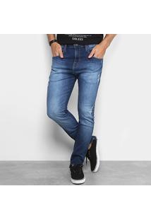 Calça Jeans Skinny Colcci Enrico Estonada Puídos Masculina - Masculino-Azul