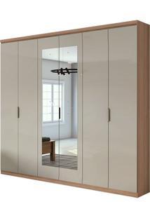 Guarda Roupa Alonzo Plus Com Espelho 6 Portas Carvalho Naturale/Off White