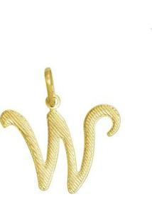 Pingente Letra W Reticulada - Unissex-Dourado