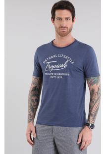 """Camiseta Listrada """"Tropical"""" Com Bordado Azul Marinho"""