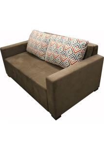 Sofa Cama Pic Com 2 Lugares Assento Veludo Marrom Base Madeira - 49907 Sun House