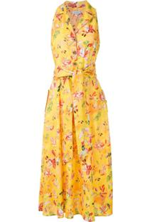 Isolda Vestido Cláudia Estampado De Linho - Amarelo