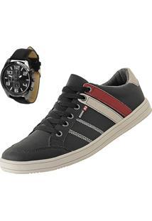 Sapatênis Cr Shoes Leve E Baixo Preto Com Relógio