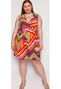 Macaquinho Almaria Plus Size Kayla Lixa Estampado