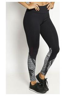 Body For Sure Legging Abstrata Com Recortes Preta & Branca