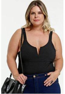Body Feminino Canelado Plus Size Marisa